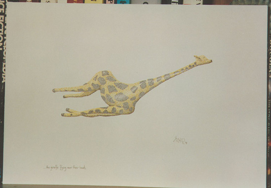 ...the giraffe flying over their heads, © Copyright 1991 Mark Wilson